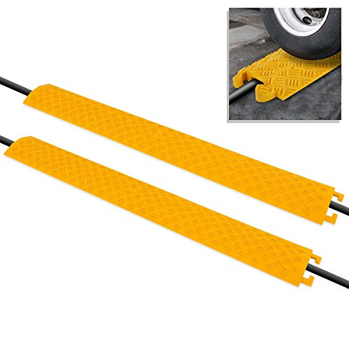Pyle PCBLCO101X2YL 2-Pc Cable Protector Cover Ramp-One Channel Heavy Duty, Safely Conceals Wire/Hose/Pipe & Driveway Protective Armor w/High Visibility Yellow Color-PCBLCO101X2YL, Multicolored