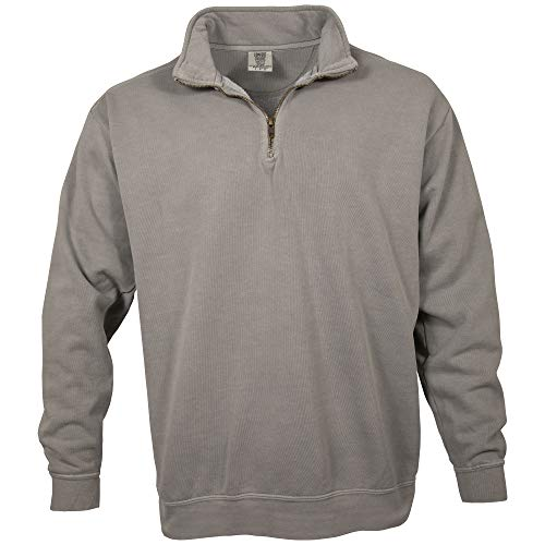 Comfort Colors Men's Adult 1/4 Zip Sweatshirt, Style 1580, Grey, X-Large