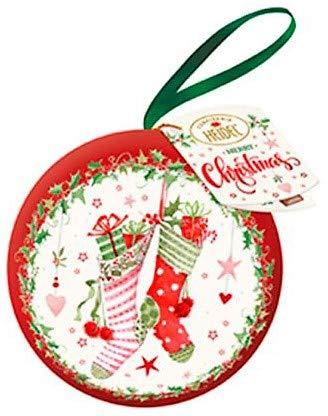 Confiserie Heidel Palla di Natale in Metallo con Decori Nostalgia con all'Interno Cioccolatini in Cioccolato al Latte di Alta Qualità - 2 x 43 Gram