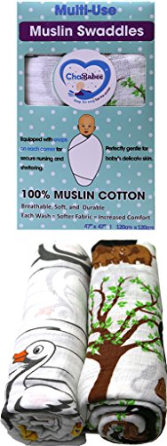 Muslin Cotton Baby Swaddle Blanket Set 2 Pack Unisex with Corner Snaps for Secure Nursing, Stroller, Car Seat, and Carrier Cover