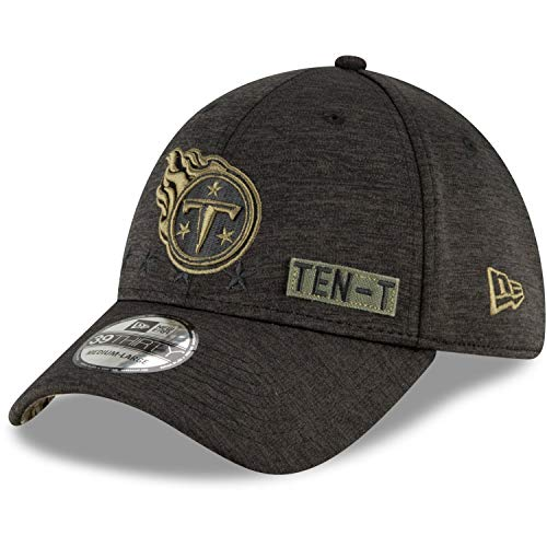 New Era Men's Heather Black Tennessee Titans 2020 Salute to Service 39THIRTY Flex Hat (Large-X-Large)