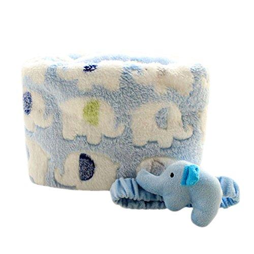 Pinzhi Baby Ultra Soft Coral Fleece Couverture de crèche, bleu avec motif éléphant