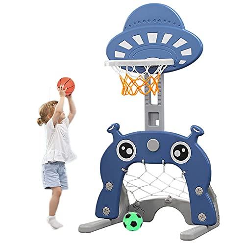 Basketball Hoop Canastas de Baloncesto para Casa, Canasta Baloncesto Infantil Altura Ajustable con Baloncesto y Fútbol, Exterior Regalos para Niños (Color : Navy Blue)