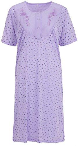 Zeitlos Lucky Nachthemd Damen Kurzarm Blumenstickerei Knöpfe, Farbe:Flieder, Größe:XL