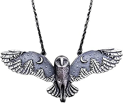 QTPD Collar Plateado de búho con Luna y Bosque, Collar de búho Volador, Collares creativos de búho Volador Vintage para Mujer, joyería artística con Fase Lunar, (1pcs)