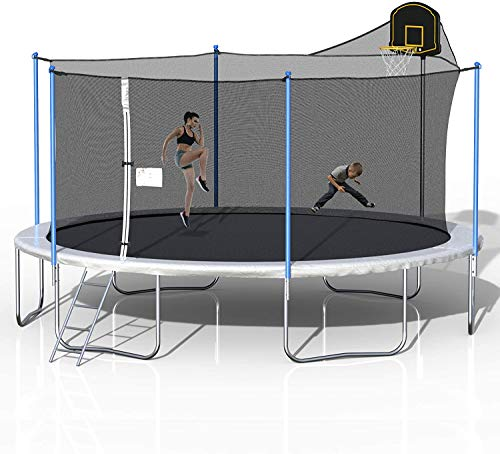 HABITRIO 16 FT Trampoline with Enclosure Net, Circular Outdoor Trampolines with Safety Net, Strong Spring Pad Mat, Parkside for Adults/Teens/Kids, Family Jumping and Ladder with Basketball Hoop, White