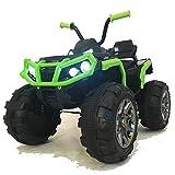 crooza 12V Kinder Quad / ATV mit 2X Motoren Kinderauto Kinderfahrzeug Kinder Elektroauto mit Fernbedienung /echtes FM-Radio/mp3/USB/SD Leser/Federung (Schwarz/Grün)
