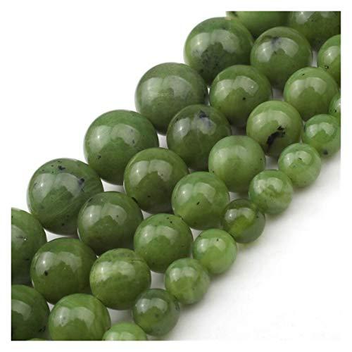 HETHYAN Cuentas de jade naturales verdes redondas de 6 8 10 12 mm para hacer joyas, collar de pulsera de 17 pulgadas (tamaño: 10 mm aproximadamente 17 piezas)