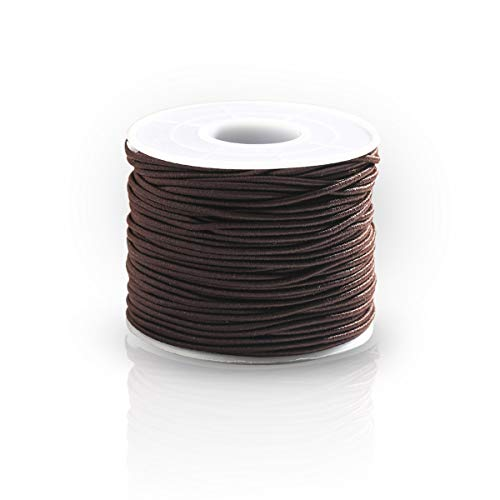 Cuerda elástica para pulseras, 1 mm de poliéster elástico, cuerda elástica para hacer joyas, abalorios, hilo elástico, 50 m, rollo para mujeres y niños, Hilo de látex + hilo de poliéster., marrón, 1mm*50m/0.039*19.68in