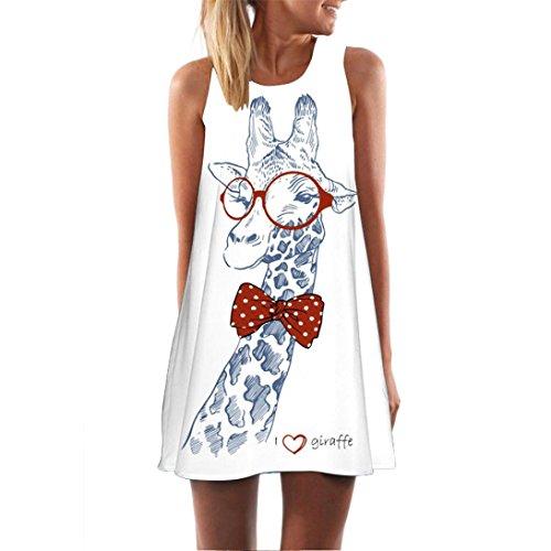 Vestido de Verano de Mujer, Dragon868 2020 Las Mujeres de Verano Vintage sin Mangas 3D Estampado Floral Vestido Corto para la Playa