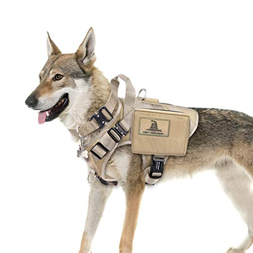WINSEE Tactical Dog Harness and Collar with Backpack, Saddle Bag, Rucksack with 3X Metal Buckle, Working Pet MOLLE Vest with Handle & Loop Panel, No Pull Training Military Harness with Leash Clip