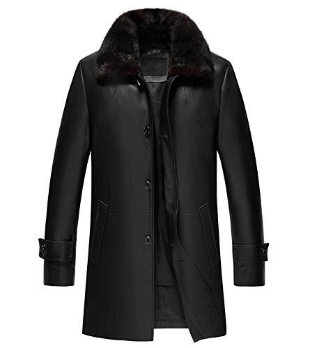 Blingsoul Men's Black Shearling Leather Bomber Jacket | [1502484] Black Delta, L