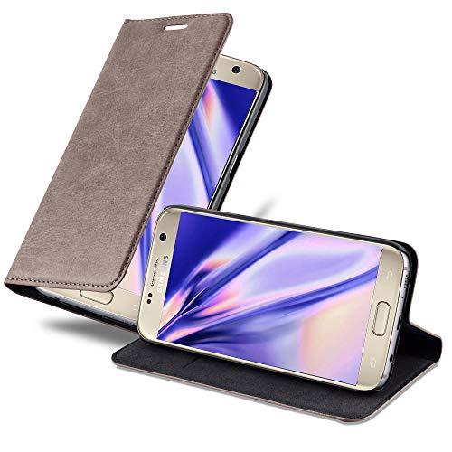 Cadorabo Hülle für Samsung Galaxy S7 - Hülle in Kaffee BRAUN – Handyhülle mit Magnetverschluss, Standfunktion und Kartenfach - Case Cover Schutzhülle Etui Tasche Book Klapp Style