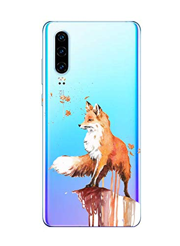 Oihxse Cristal Clear Coque pour Huawei P20 Lite/Nova 3E Silicone TPU Souple Protection Etui [Jolie Aquarelle Animal Design] Anti-Choc Anti-Scratch Bumper Housse Ultra Fin Case (B9)