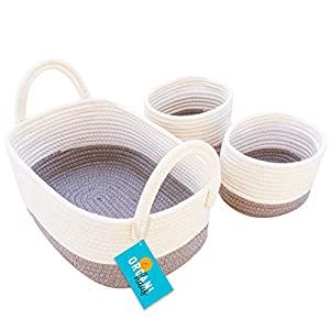 OrganiHaus Set of 3 Mini Woven Cotton Rope Nursery Baskets with Handles, Decorative Baby Room Cute Rustic Basket Storage Organizer Bin for Toys, Diapers, Crafts, Clothes, Laundry – Grey/White