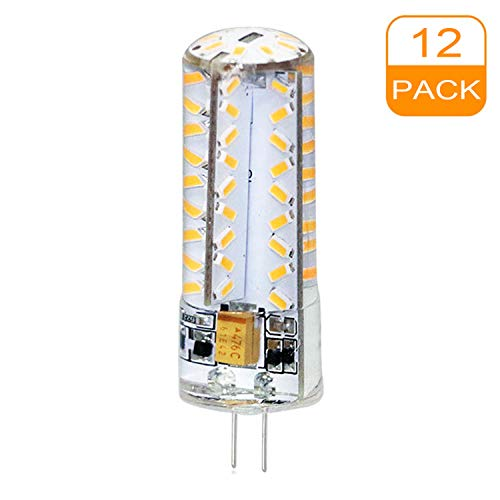 G4 - Bombilla LED transparente de silicona, luz blanca cálida, 3000K, 3,5W, 350lm, repuesto para bombillas halógenas de 30W AC/DC12V, 360 grados, bombilla pequeña 24 x SMD 3014, luz no regulable, 12 x