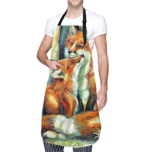 Baca-Uncle Waterproof Kitchen Apron, Adjustable Chef Cooking Bib, Fox Love Neck Waist Tie Front Kangaroo Pocket
