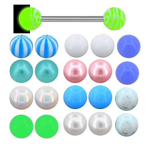 Piercing para lengua OUFER de acero inoxidable 316L, 14 G, para la lengua que brilla en la oscuridad, con bolas acrílicas, color aleatorio