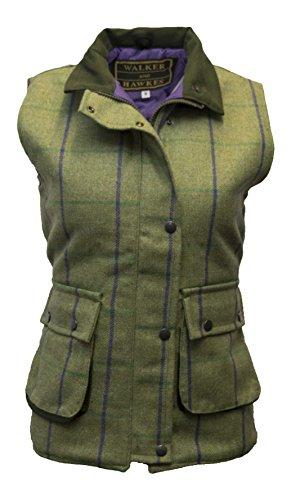 Walker and Hawkes - Chaleco de Tweed para Mujer - Inspirado en la hípica y la Caza - Disponible en Tallas de la 34 a la 50 - Rayas moradas - EU 40 (UK 12)