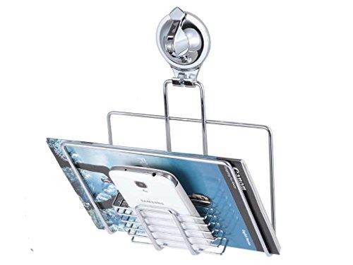 Tatkraft Trigger | UI-9002 | Zeitschriftenhalter Badezimmer, WC Handyhalterung | Edelstahl, Silber | Mit Saugnapf, Rostfrei | 20.8x19x7.8CM