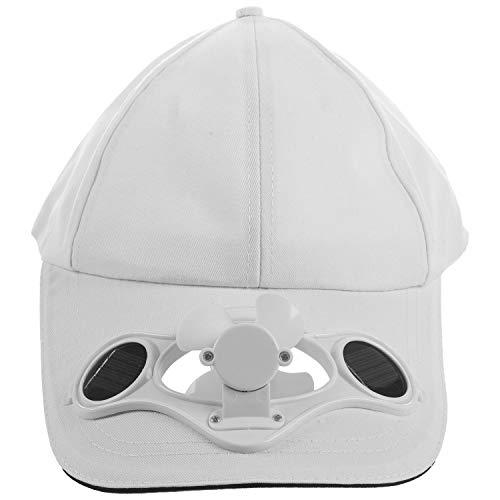 Jaimenalin Wei?er Solar Betriebener Lüfter Sommer Sport Hut Kappe Mit Solar Sonnen Lüfter Ventilator Radfahren, Das Kleine Klimager?te Klettert