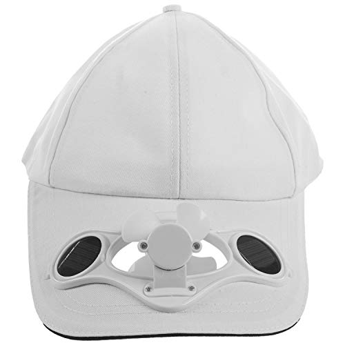 Yaootely Wei?er Solar Betriebener Lüfter Sommer Sport Hut Kappe Mit Solar Sonnen Lüfter Ventilator Radfahren, Das Kleine Klimager?te Klettert