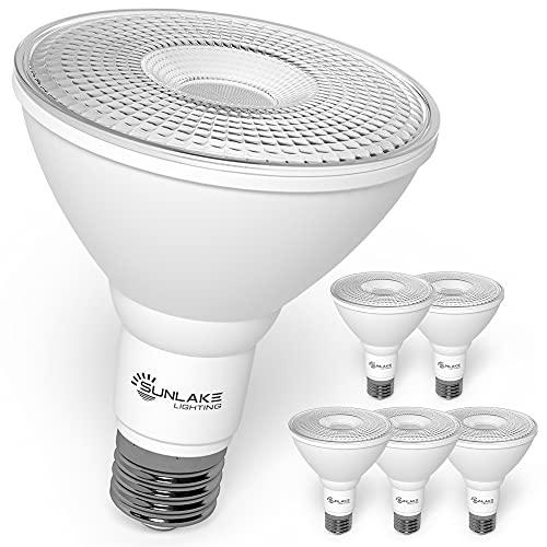 SunLake 6 Pack par30 led Flood Light Bulb, 10 WATT (75 WATT Equivalent), Dimmable 2700K Soft White, E26 Base spot Light, Wet Rated Waterproof, Indoor/Outdoor, UL & Energy Star