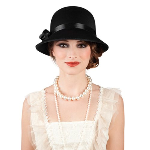 PARTY DISCOUNT Hut Charleston Lady, schwarz mit Hutband und Satinblume