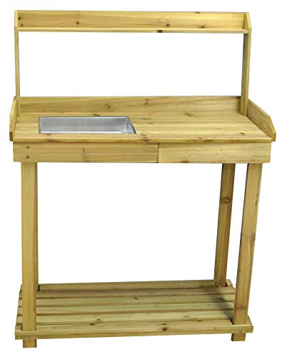 Selections Wooden Potting Table with Drawer, Two Storage Shelves and Zinc Soil Holding Pan