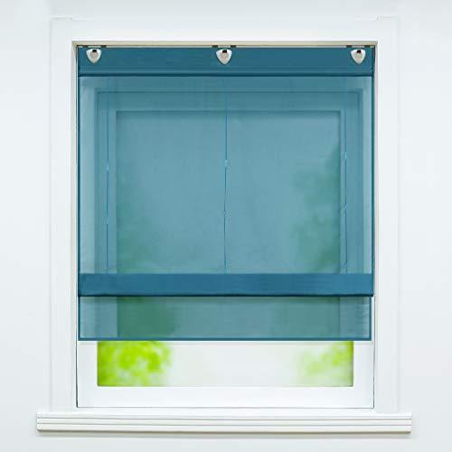 Joyswahl Voile Raffrollo mit Hakenaufhängung, ohne Bohren »Hanna« Schals Fenster Unifarbige Vorhänge BxH 60x130cm Petrol 1er Pack