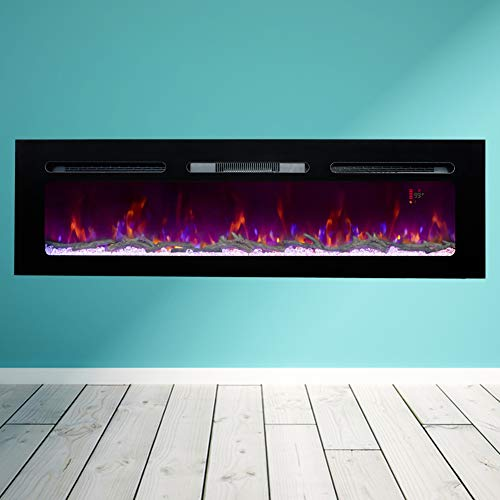 BizHomart Doris Electric Fireplace Recessed and Wall Mounted for 2X6 Stud Log & Crystal Remote...