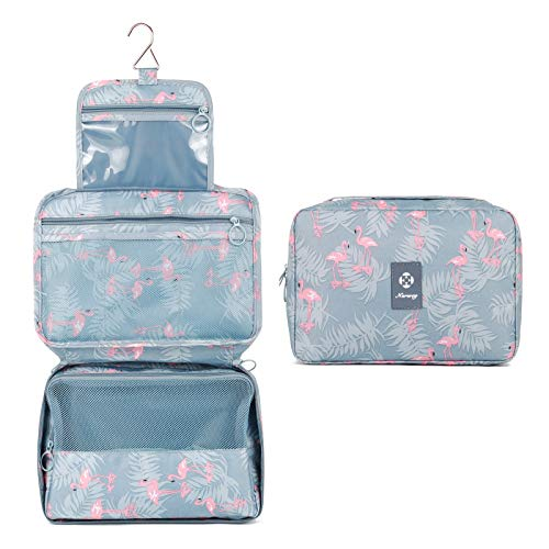 Travel Hanging Toiletry Wash Bag Makeup Cosmetic Organizer for Women Girls Kids Waterproof (A-Flamingo)