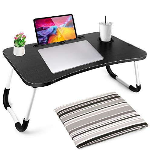 Laptop Bed Tray Desk, Foldable Computer Bed Table, Multifunction Lap Tablet with Cup Holder Perfect for Bed/Couch/Sofa/Floor