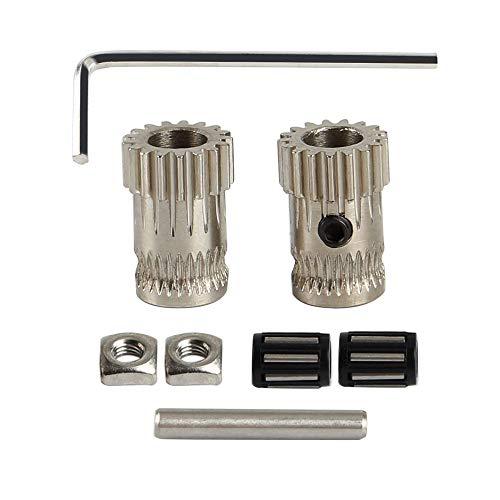 Toaiot 3D-Drucker-Zubehör MK2/MK2.5/MK3 Teile Extruder-Antriebsgetriebe-Set Doppelzahnräder Stahl-Riemenscheiben-Set Getriebe Extrusionsrad für Prusa i3 DIY