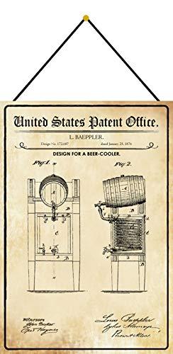 FS Patent design för en ölkylare plåtskylt välvd metallskylt 20 x 30 cm med snöre
