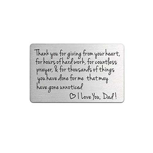 beuteleinsatz, graviert, handgestempelt, Hochzeitsgeschenk, Karte für Vater, Stiefvater (Silber – I love you dad)