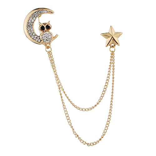 Bonarty Crystal Owl Brooch Pin Lapel with Chain Tassel Blouse Shirt Collar Neck Tip - Gold