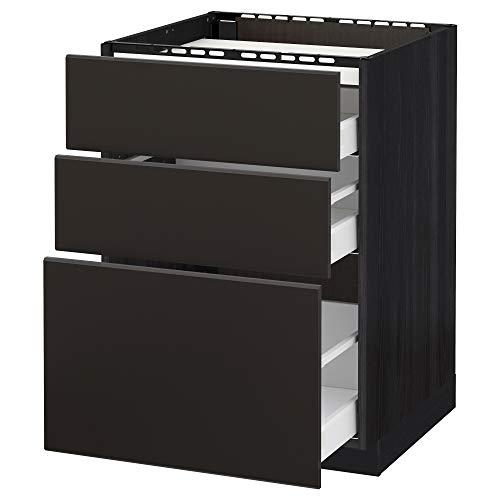 Maximera / METOD bashytt f häll/3 fronter/3 lådor 60 x 61 x 88 cm svart/Kungsbacka antracit
