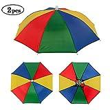Minelife 2 Pack Rainbow Umbrella Hat Fishing Umbrella Hat, Foldable Colorful Umbrella Headwear, Sun-rain Umbrella Hat for Beach, Gardening, Travel, Hunting & Fishing