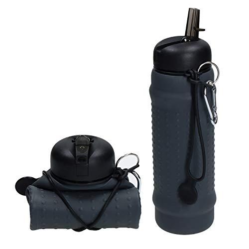 elasto Faltbare Trinkflasche mit Karabiner 700ml Auslaufsicher aus Silikon - Made in Germany - (Grau) Platzsparende Sportflasche zum Drücken