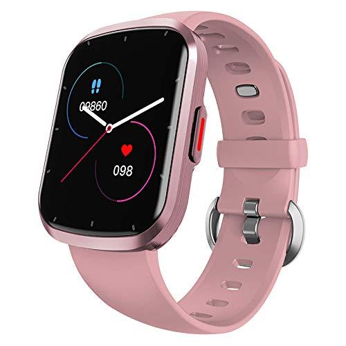 Yumanluo Reloj Inteligente Mujer Hombre,Monitor de frecuencia cardíaca Pantalla Completa táctil Fitness-Pink,Pulsera de Actividad Inteligente Reloj Deportivo