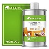 Nordicare huile pour bois [1 litres] pour l'entretien de meubles – Huile incolore pour meubles en chêne, hêtre, noyer, mélèze – vernis pour bois, à base d'huile de lin
