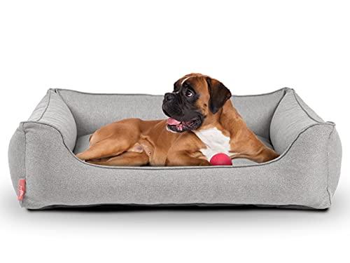 Cama para perros Dreamer Plus | ortopédica, funda extraíble y lavable | suelo impermeable | fabricado en la UE | en S, M, L, XL | en gris beige, gris oscuro y azul oscuro (S 60 x 44 cm, gris claro)