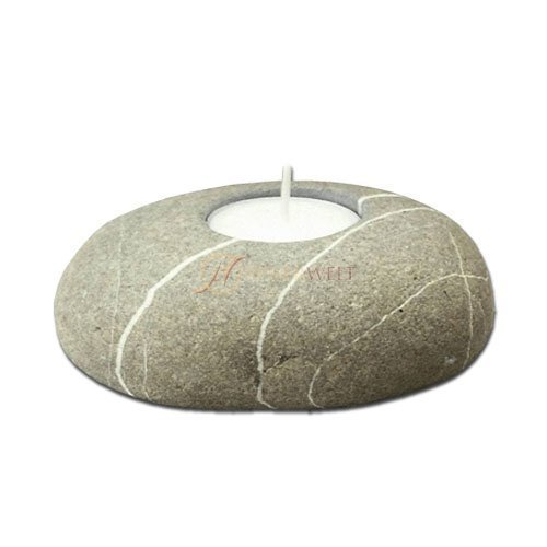 Häfnerwelt Teelichthalter/Kerzenhalter aus Naturstein (Findling) mit Teelicht | massiv Ø ca. 11 cm, Höhe ca. 4 cm | Tischdekoration für innen & außen. Jeder Stein ist EIN Unikat!