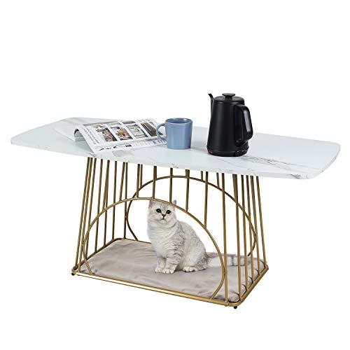 Moncot CT392L-WH - Tavolino da salotto moderno rettangolare per gatti con struttura in ottone e struttura in metallo e cuccia con animali, piano in marmo bianco