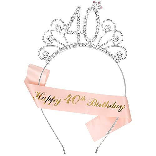 Smilcloud 40. Geburtstag Krone Set Geburtstag Schärpe Krone Happy 40 Birthday Geburtstag Schärpe für 40. Geburtstag Frauen deko Accessoires Geschenk