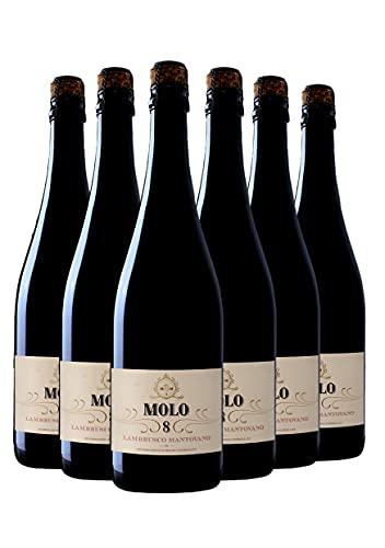 Molo 8 Lambrusco Mantovano - Vino Lombardo Rosso Frizzante - DOC - 0.75L (6 Bottiglie)