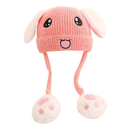 Gorro de punto para niños con airbag Moving Ears con cara de conejo bordada, diseño de animal. APK. Talla única