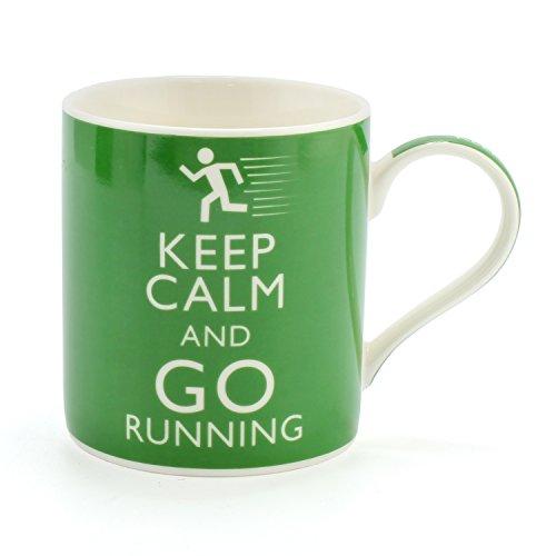 Premium KEEP CALM AND GO RUNNING Becher. Perfekte Keramik Porzellan Tasse für Jogger, Marathon Läufer & Laufverein Mitglieder - Perfekte Ergänzung zur Laufausrüstung oder Zubehör für Männer und Frauen
