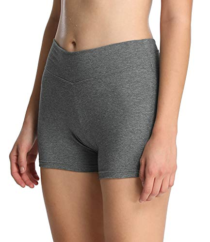 4How Sport Shorts Tights Damen Kurz Radlerhose Tanzshorts Balett Yoga Shorts Laufshorts Stretch Fitness Yoga Pants Sportwear-Shorts Grau M